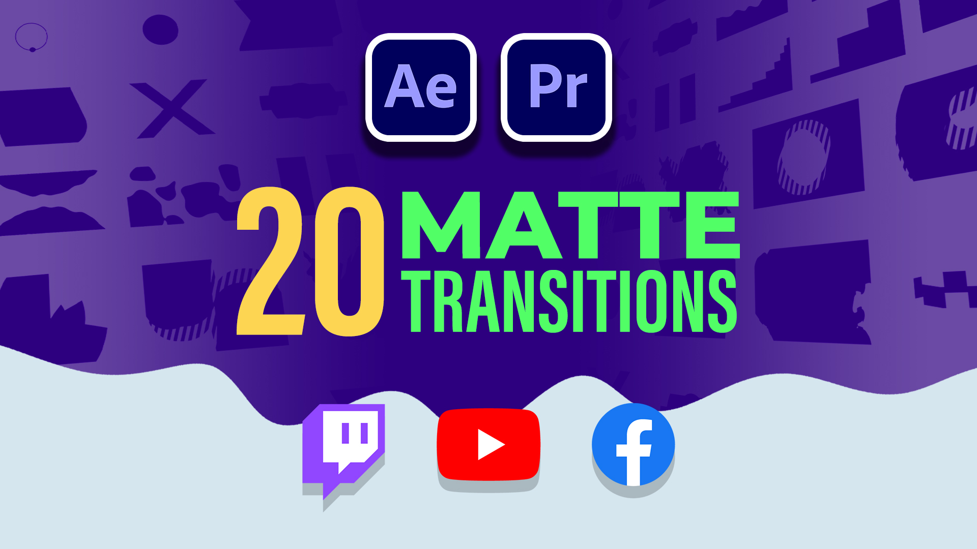 20 Premium Matte Transitions for Content Creators - Youtube, Twitch and Facebook Gaming
